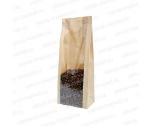 Пакет под чай/кофе из бежевой крафт бумаги с ламинацией, с окном