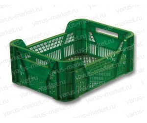 Пластиковый ящик, 400х300х155 мм., прямоугольный, для фруктов