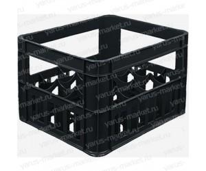Пластиковый ящик, 400х320х280 мм., для бутылок, черный
