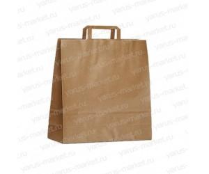 Крафт-пакет бумажный, бурый, с плоской ручкой для выпечки