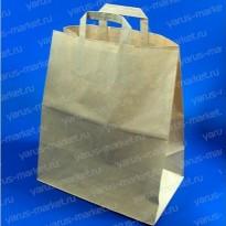 Крафт-пакет бумажный, с плоской ручкой, для овощей, фруктов, хлеба
