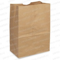 Крафт-пакет, 40×24×14см., бурый, для фасовки и хранения хлеба, булок, пирожных