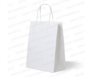 Крафт-пакет бумажный, с крученой ручкой, белый, 25×22×12см