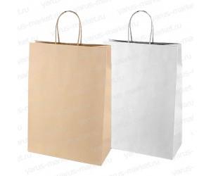 Крафт-пакет бумажный, с крученой ручкой, белый, 32×24×11см., для хлеба