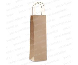 Крафт-пакет бумажный, с крученой ручкой, для вина