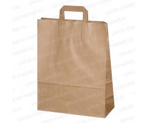 Крафт пакет бурый, с плоской ручкой, для кондитерских магазинов