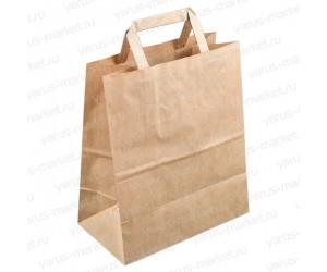 Крафт-пакет бумажный с плоской ручкой, бурый, для кафе