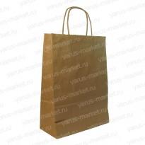 Крафт-пакет бумажный, с крученой ручкой, 37×32×18см, бурый