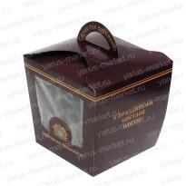 Картонные коробки 15×13,5×13,5см c ручкой и окном