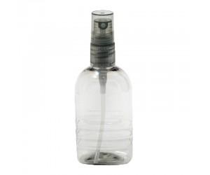 Серый прозрачный флакон из пластика с насадкой спреем