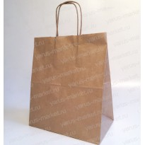 Крафт-пакет бумажный, с крученой ручкой, 37x32x18, бурый