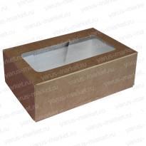 Короб для пирожных, с окном, самосборный, бурый