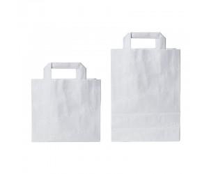 Белый крафт пакет с плоскими ручками