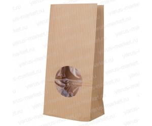 Крафт пакет 240х90х50 с окошком для чая и кофе