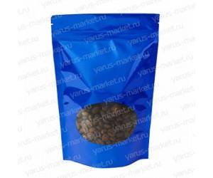 Пакет дой-пак с прозрачным окошком для фасовки кофе, синий