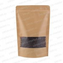 Бумажный дой-пак с прозрачным окошком для сыпучих продуктов