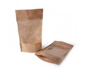 Бумажный Дой-пак с большим окошком и замком зиплок