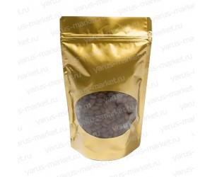 Золотой матовый дой-пак с прозрачным окошком для кофе и чая