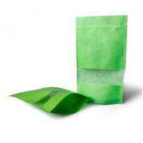 Зеленый дой-пак крафт с прямоугольным окном