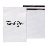 Белый курьер-пакет с карманом и надписью «Thank You»