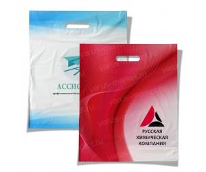 Пакеты ПСД с вырубной ручкой, с печатью в ассортименте