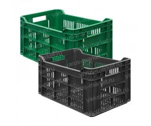 Перфорированный пластковый ящик для овощей 500x300x264 мм.