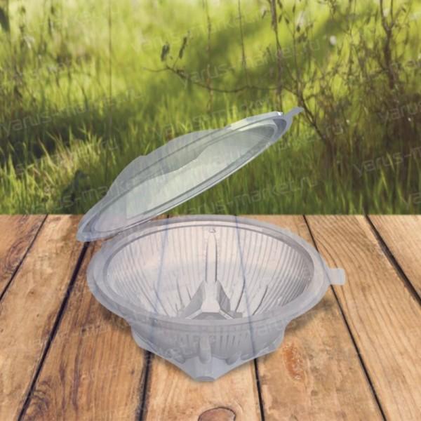 Круглый салатник ПЭТ на подставке с откидной крышкой