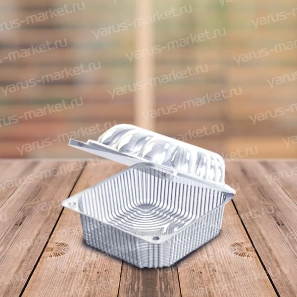 Квадратный салатник ПЭТ с фигурной крышкой