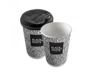 Двухслойные бумажные стаканы с печатью логотипов