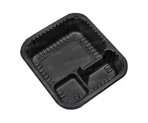 Контейнер для суши, 14,3×12,9×4,1см, трехсекционный, черный, серый