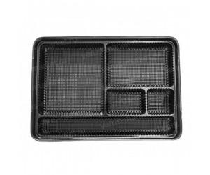 Контейнер под суши и роллы, 4 секции, 25×18×4.5см, 2.5×8×5см, черный