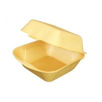 Коробка для бургера из ВПС, желтая, 125×125×70мм