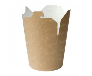 Коробка для лапши WOK, белая, бурая, 500 мл, картонная