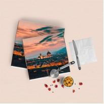 Коробка для пиццы, белая, бурая