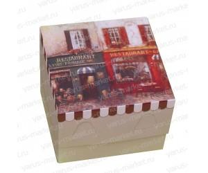 Картонная коробка 9,5×9,5×7 см для кондитерских изделий с принтом