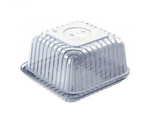 Квадратная тортница с круглой выемкой на крышке
