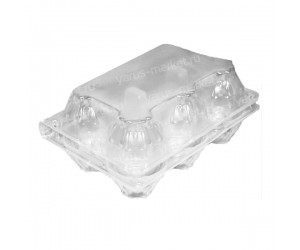 Упаковка для куриных яиц, 6 ячеек, 70х101х151 мм, пластиковая