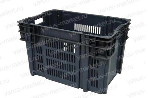 Пластиковый ящик, 540х360х260 мм., черный, для хранения грибов