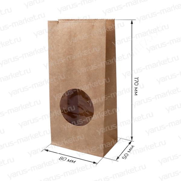 Бумажный крафт пакет, с окном, 17х8х5 см