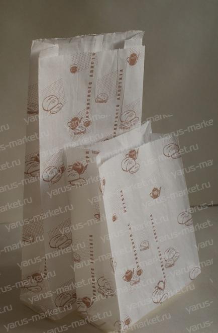 Бумажные пакеты под хлеб, белые, с печатью