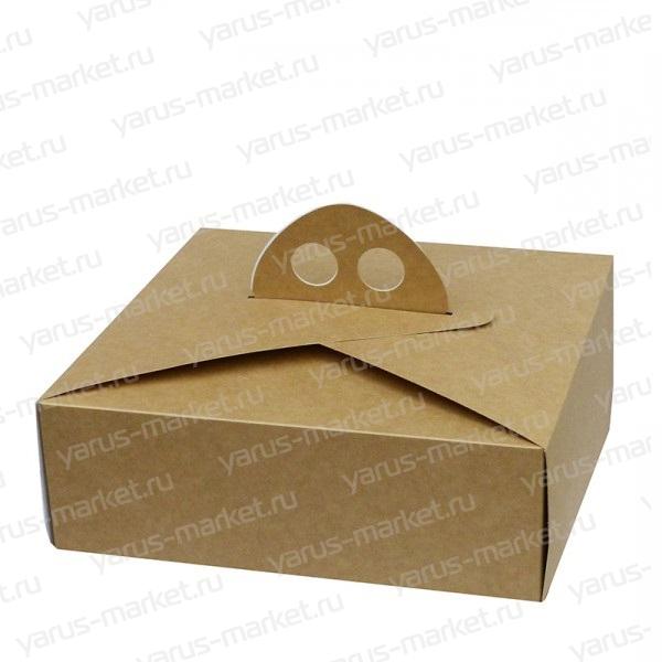 Закрытая картонная коробка с ручками