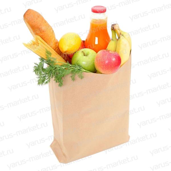 Крафт-пакет, 40х24х14 см., бурый, для фасовки и хранения хлеба, булок, пирожных