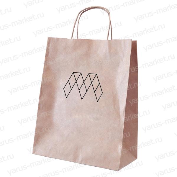 Крафт-пакет бумажный, с крученой ручкой, бурый, для выпечки