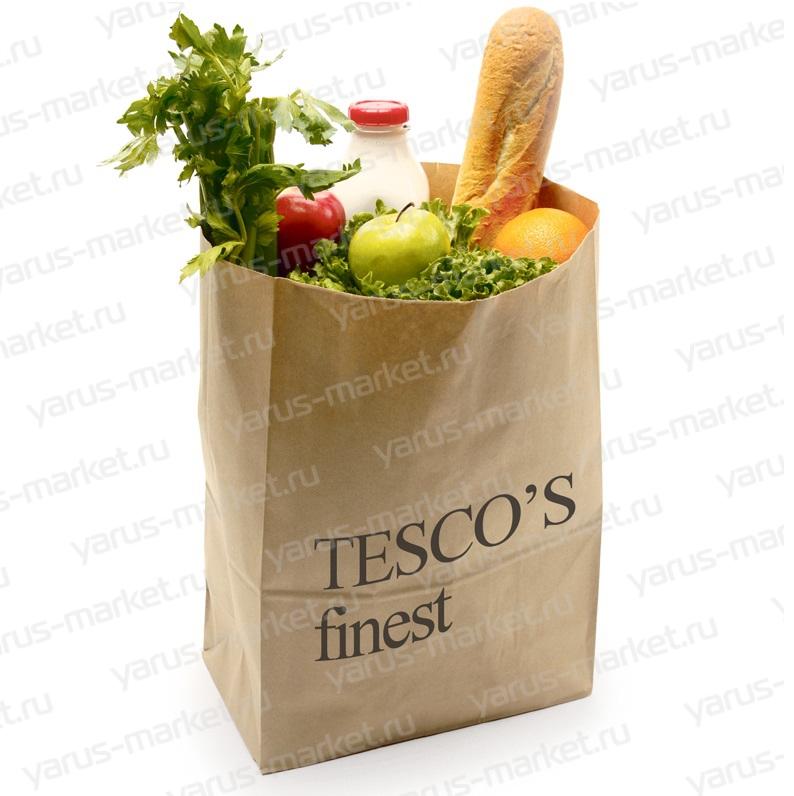 Крафт-пакет бумажный с плоской ручкой, для продовольственных магазинов