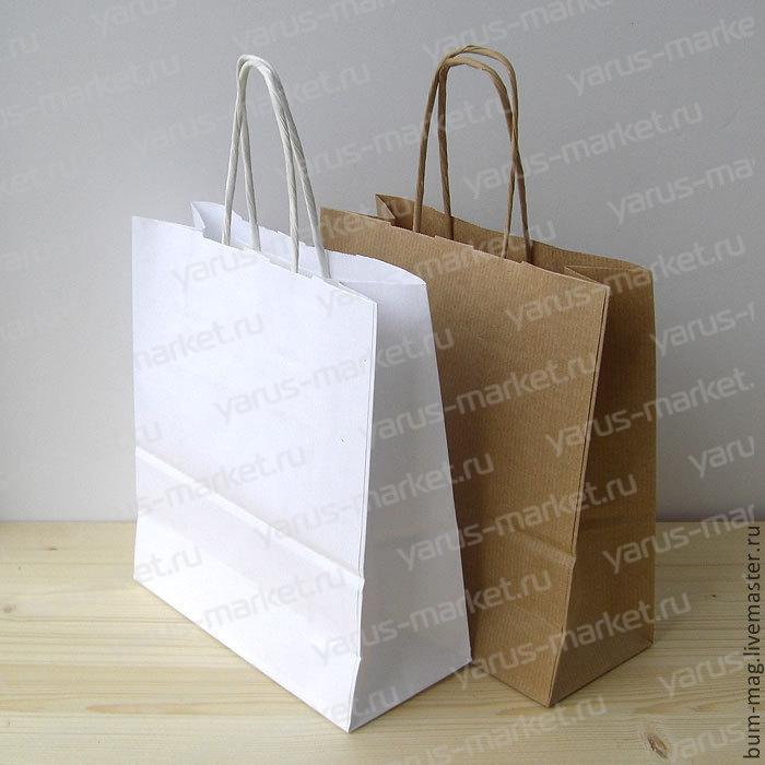 Крафт-пакет бумажный, с крученой ручкой, белый, 35х26х14 см