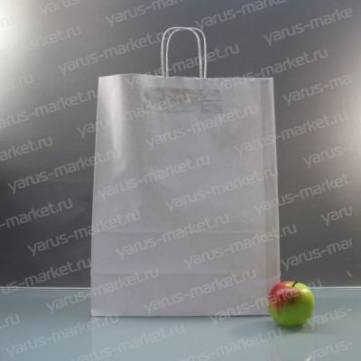 Крафт-пакет бумажный, с крученой ручкой, белый, 32х24х11 см., для хлеба