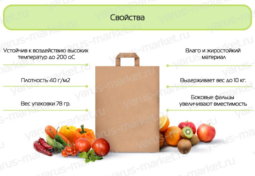 Крафт-пакет бумажный с плоской ручкой, для продовольственных магазинов инфографика