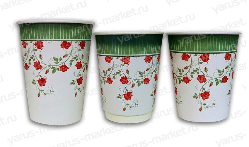 Бумажный стакан «Розы», 195 мл., 270 мл., 330 мл., 400 мл