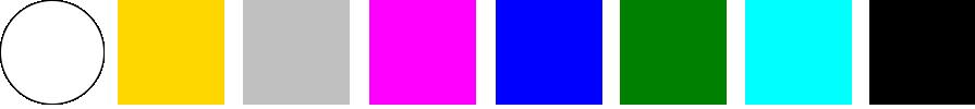 Цвета — белый, золотой, серебряный, розовый, синий, зелёный, голубой, чёрный