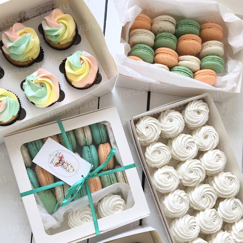 Коробка для капкейков, печенья, конфет, шоколада, 280х180х100 мм.